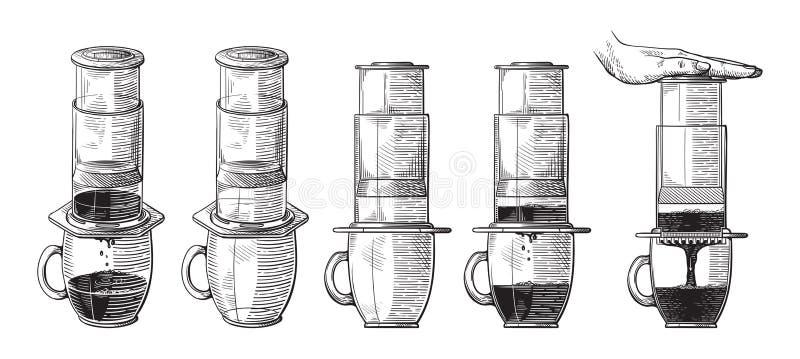 Ilustracja alternatywny piwowarstwo aeropress z dosunięcie ręki planu procesem ilustracji
