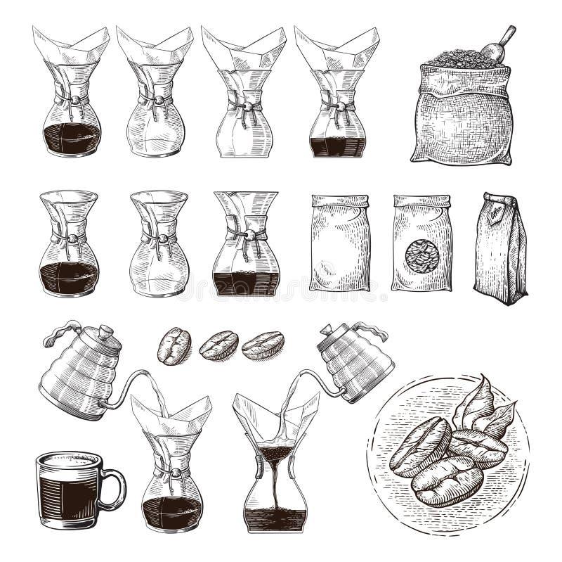 Ilustracja alternatywny piwowarstwo chemex z dosunięcie ręki planu procesem ilustracja wektor