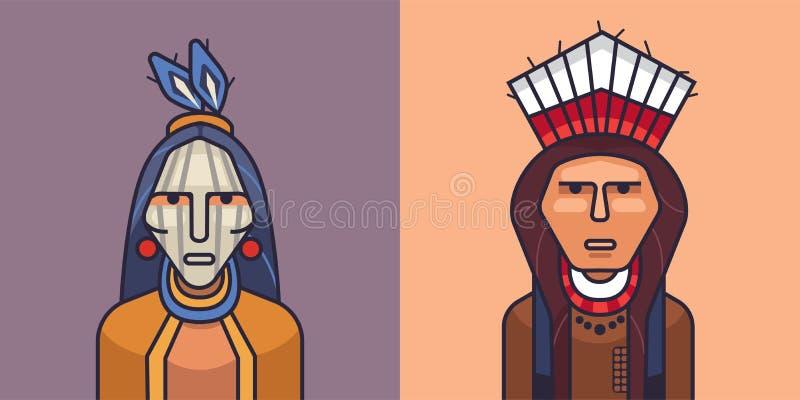 Ilustracja amerykańscy czerwoni hindusi ilustracji