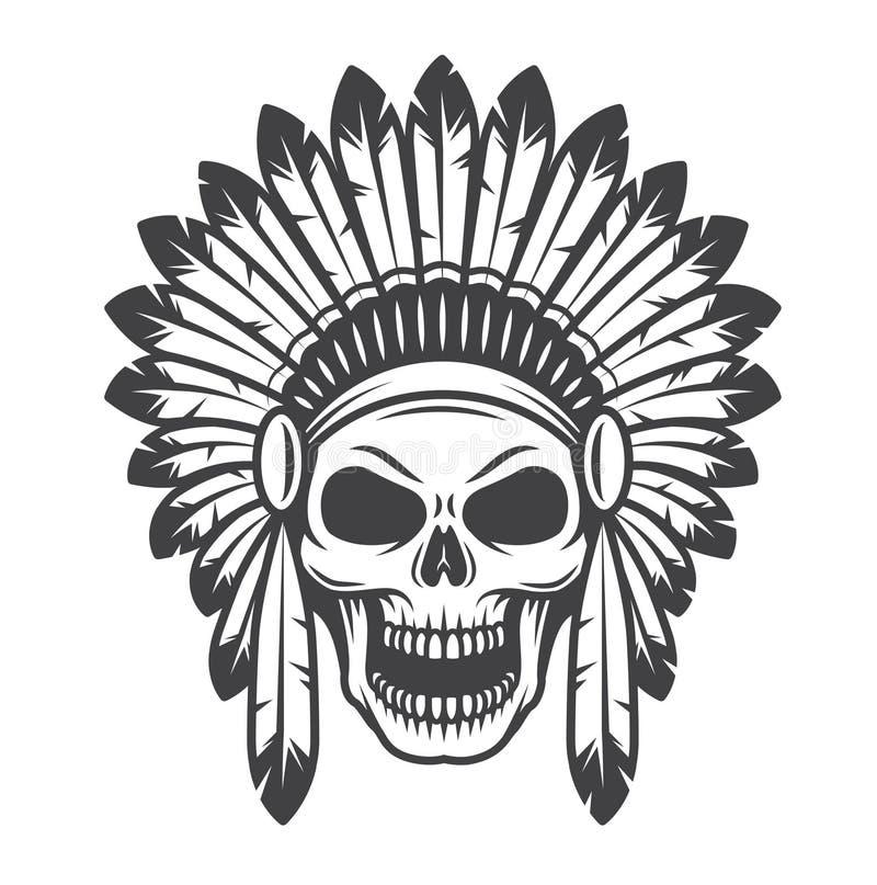 Ilustracja amerykańsko-indiański czaszka royalty ilustracja