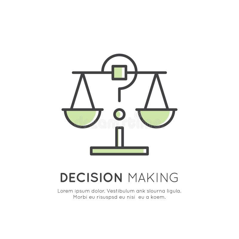 Ilustracja analityka, zarządzanie, Biznesowa Myśląca umiejętność, podejmowanie decyzji, czasu zarządzanie, pamięć, Sitemap, Brain ilustracja wektor
