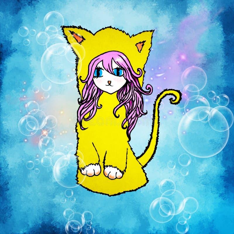 Ilustracja anime dziewczyna z różowym włosy, dużymi oczami z kota ` s ucho i ogonem na błękitnym tle z bąblami, royalty ilustracja