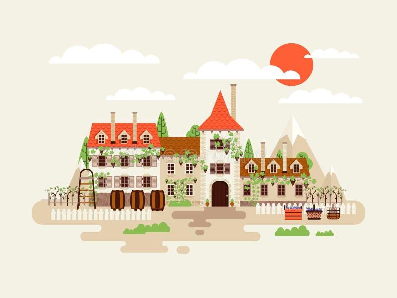 Ilustracja architektury wytwórnii win fasada z winnicami na tło górach beczkuje wino w mieszkanie stylu royalty ilustracja