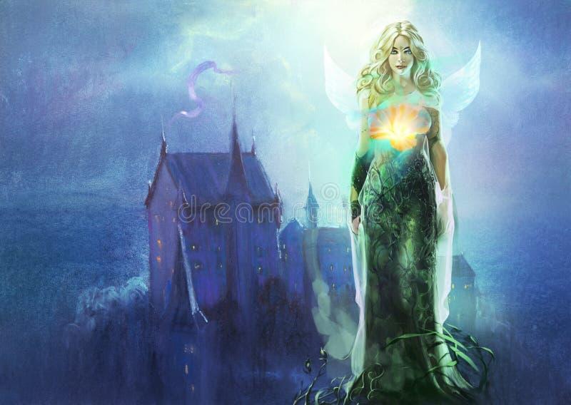 Ilustracja astrologia znaka virgo jako piękna blond kobieta ilustracji