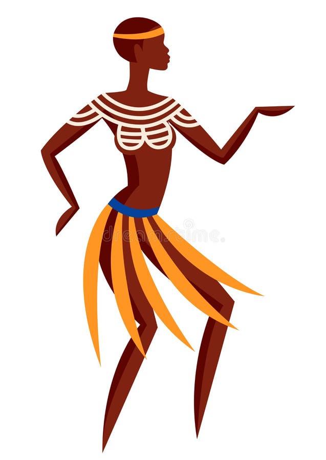 Ilustracja Australijski aborygen kobiety taniec w krajowym kostiumu ilustracja wektor