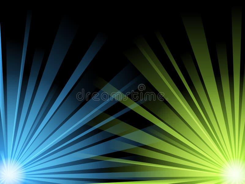 Ilustracja błękit i zielonego światła promienie ilustracji