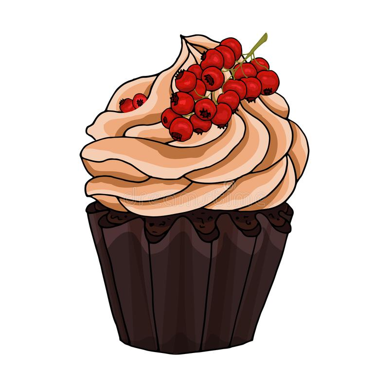 Ilustracja babeczka dekoruje z czekoladową śmietanką i wiązką czerwoni rodzynki odizolowywającymi na białym tle, ilustracji