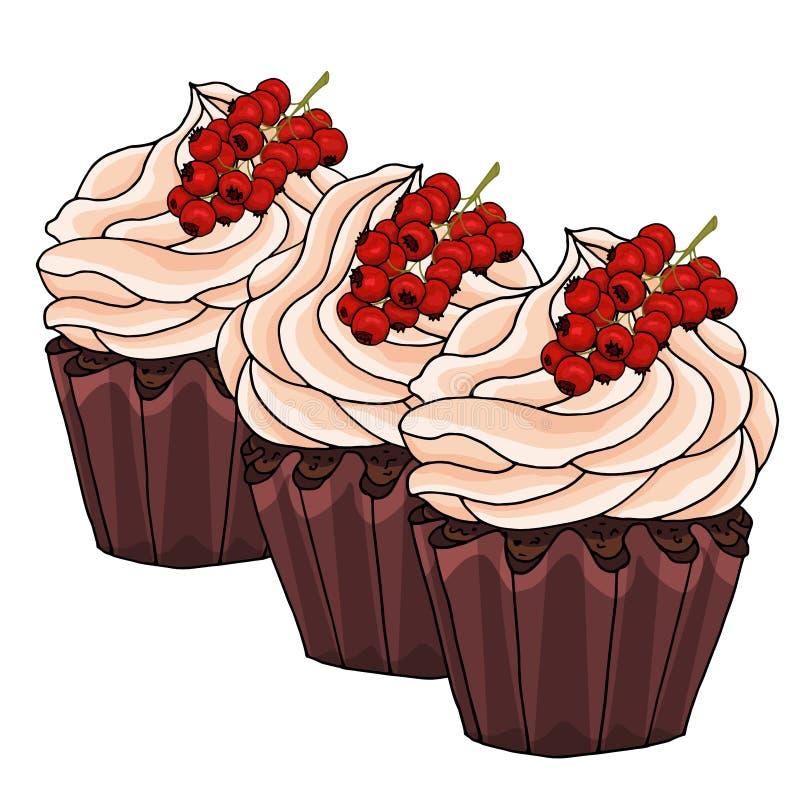 Ilustracja babeczki dekoruje z czekoladową śmietanką i wiązką czerwoni rodzynki odizolowywającymi na białym tle, ilustracja wektor