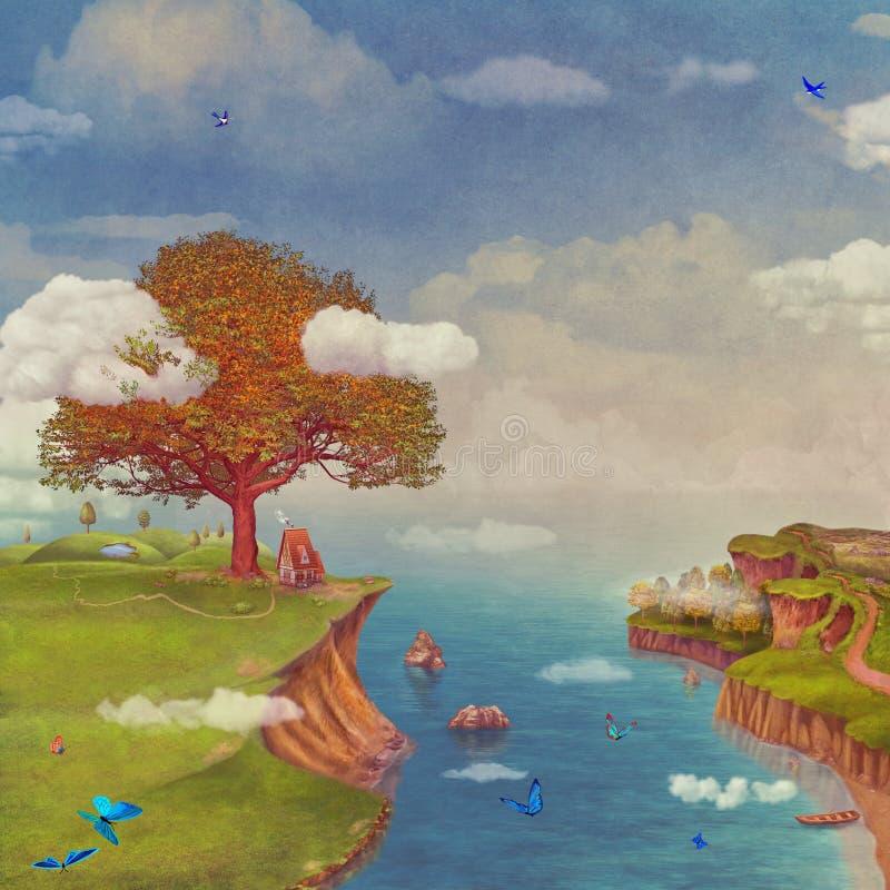 Ilustracja bajka fantastyczny las, domy, jezioro, niebo i duży drzewo w niebie, ilustracji