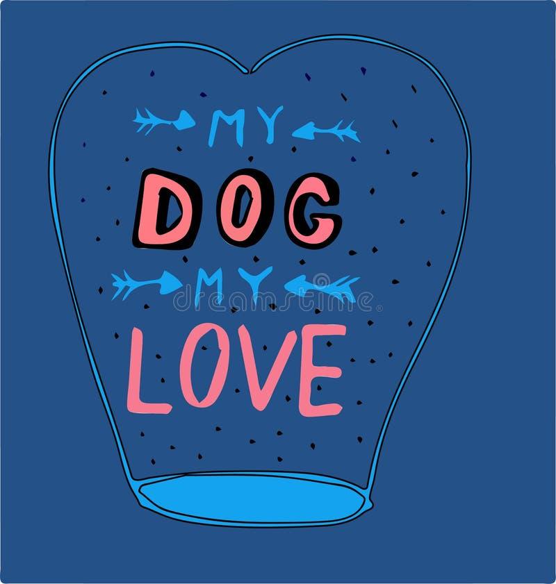 Ilustracja balon z inskrypcją mój pies mój miłość zdjęcie stock