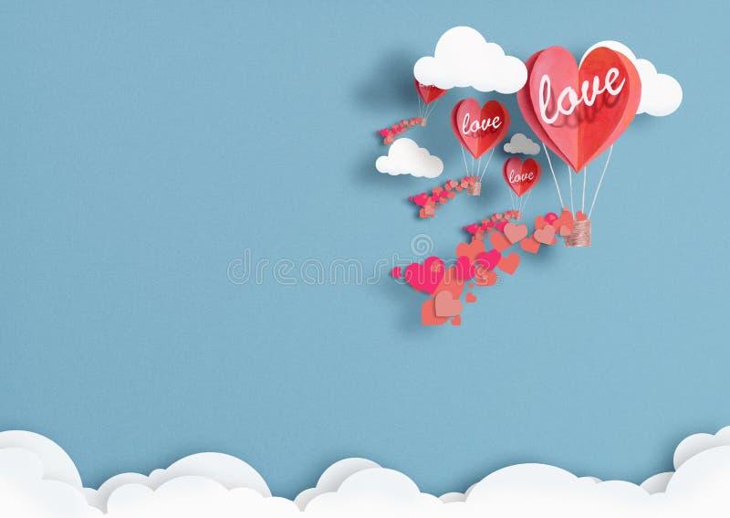 Ilustracja balony w formie serc lata w niebie zdjęcia stock