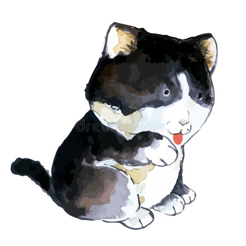 Ilustracja bardzo śliczna domowego kota maskotka w cyfrowej akwareli i wektorze fotografia stock