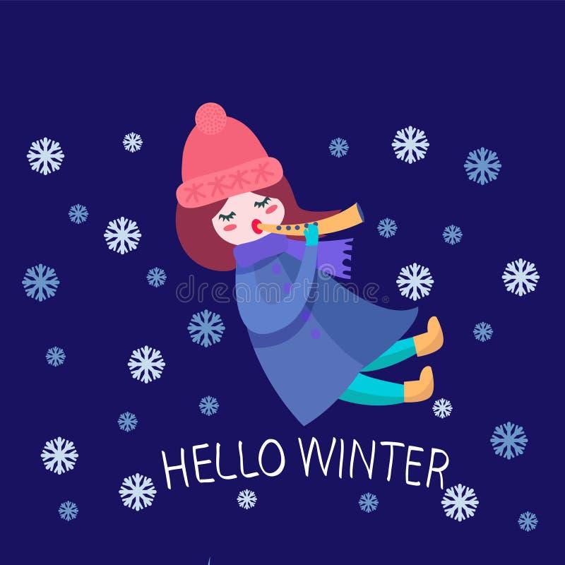 Ilustracja Bawić się flet z płatek śniegu śliczna dziewczyna royalty ilustracja