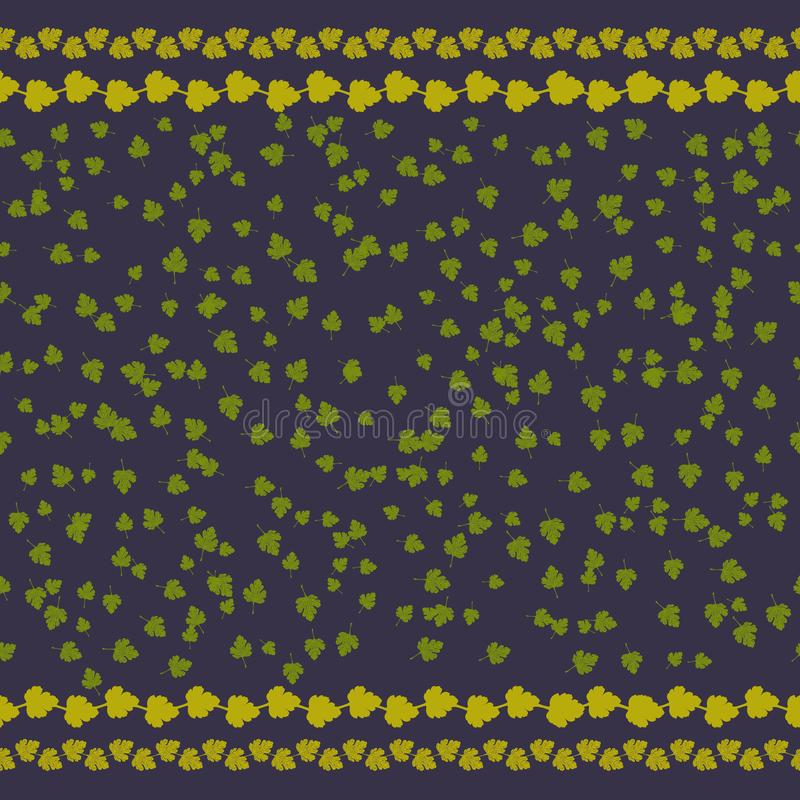 Ilustracja bezszwowy wzór z małym zielonym liścia ornamentem, zmrok - błękitny tło, ornament dla książkowej tło dekoracji royalty ilustracja
