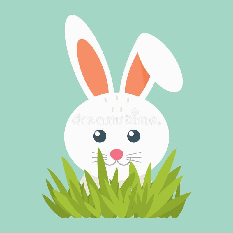 Ilustracja biała zając EPS 10 wektor ilustracja Śliczny mały zwierzę na błękitnym tle z trawą ilustracji