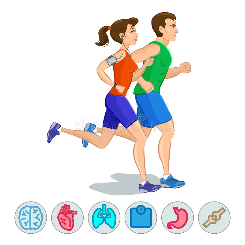 Ilustracja biegacze - para bieg royalty ilustracja