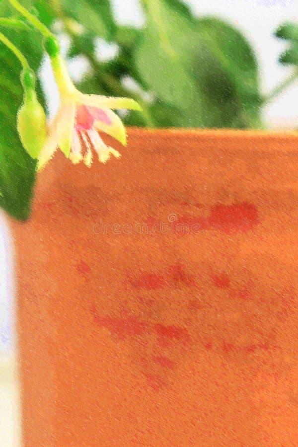 Ilustracja bielu i menchii fuksja na brown glinianego garnka tle ilustracji
