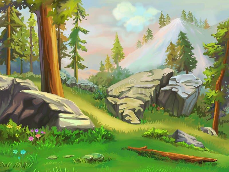 Ilustracja: Bierze krótkiego odpoczynek w halnym lesie ilustracja wektor