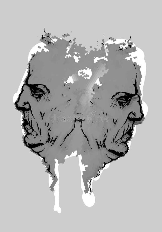 Ilustracja bliźniaczej twarzy popielaty kolor obraz royalty free