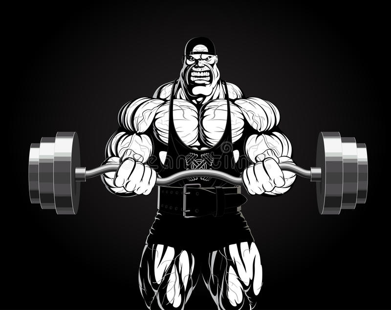 Ilustracja: bodybuilder z barbell royalty ilustracja