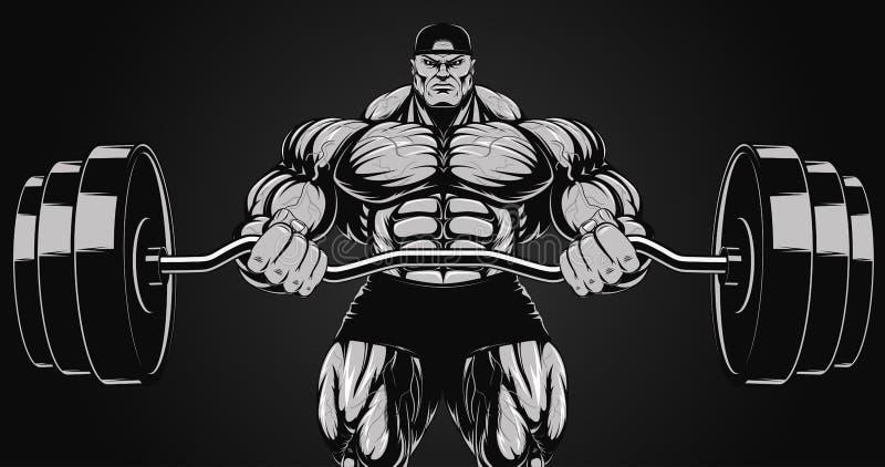 Ilustracja, bodybuilder z barbell ilustracja wektor