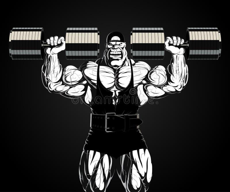 Ilustracja: bodybuilder z dumbbell ilustracji