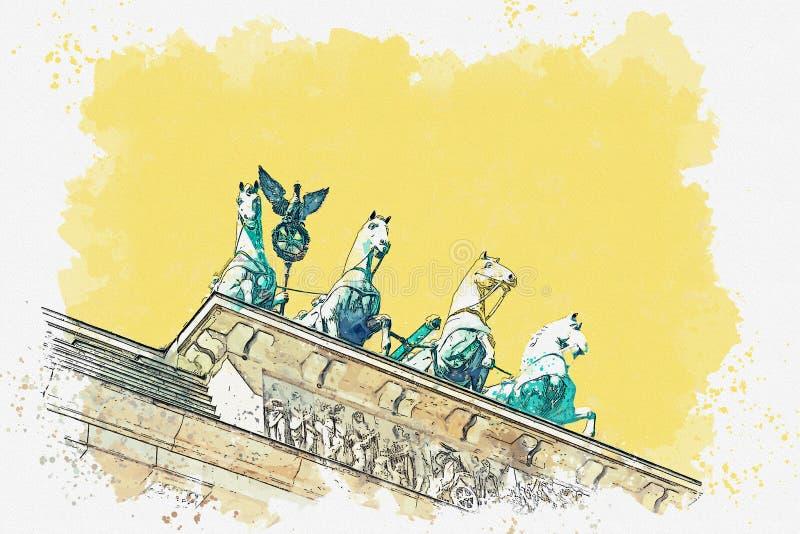 Ilustracja Brandenburg brama ilustracji