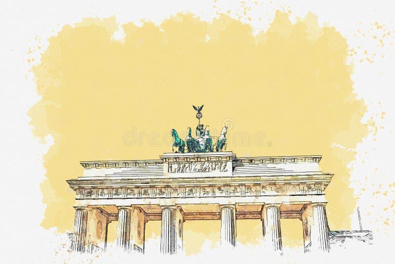 Ilustracja Brandenburg brama royalty ilustracja
