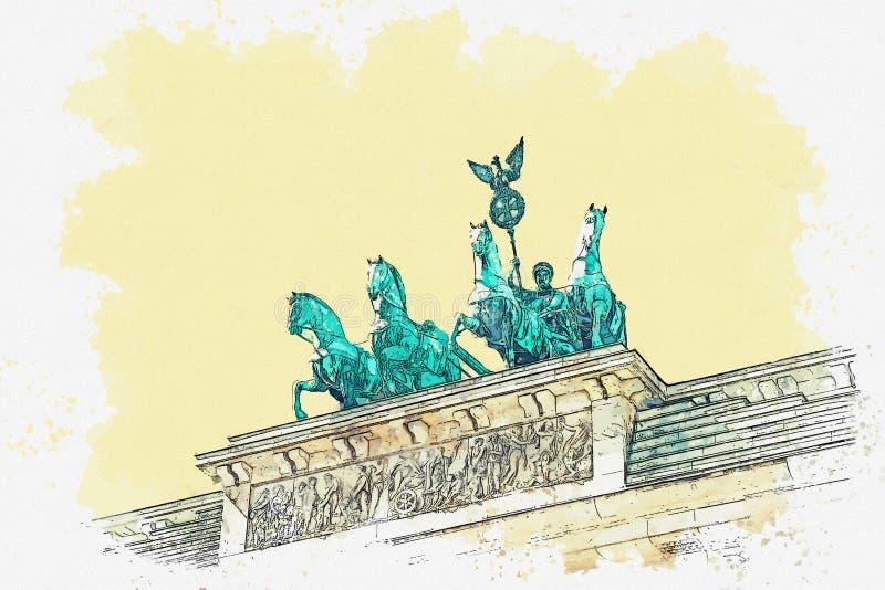 Ilustracja Brandenburg brama ilustracja wektor