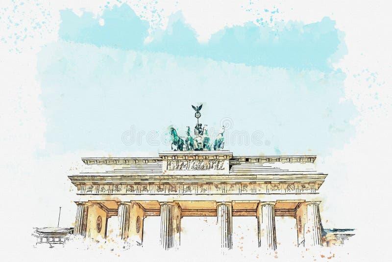 Ilustracja Brandenburg brama w Berlin lub, Niemcy royalty ilustracja