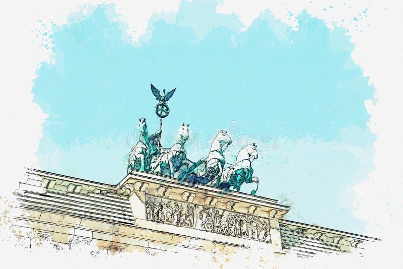Ilustracja Brandenburg brama w Berlin lub, Niemcy ilustracja wektor