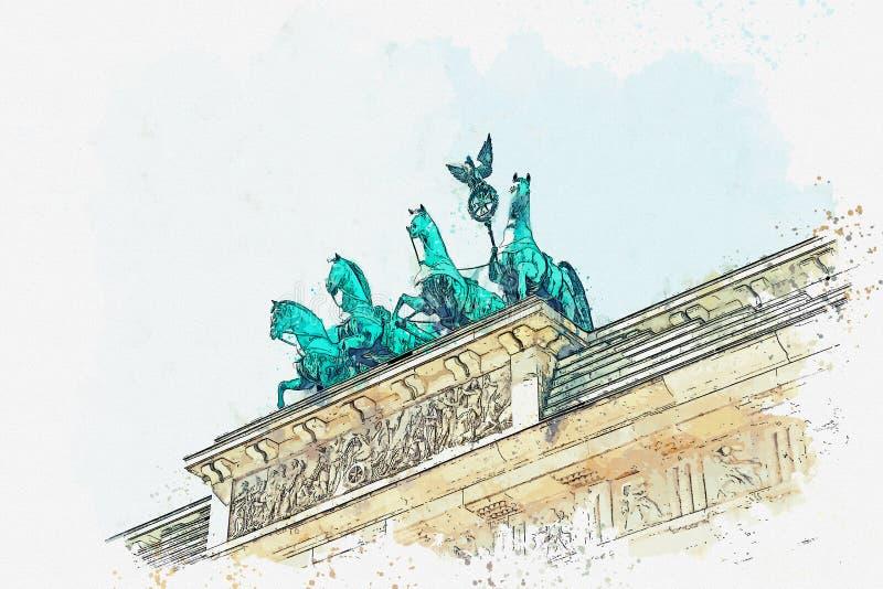 Ilustracja Brandenburg brama w Berlin lub, Niemcy ilustracji