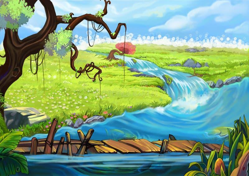 Ilustracja: Brzeg rzeki Drzewo, Kwiaciaści pola i most, ilustracja wektor