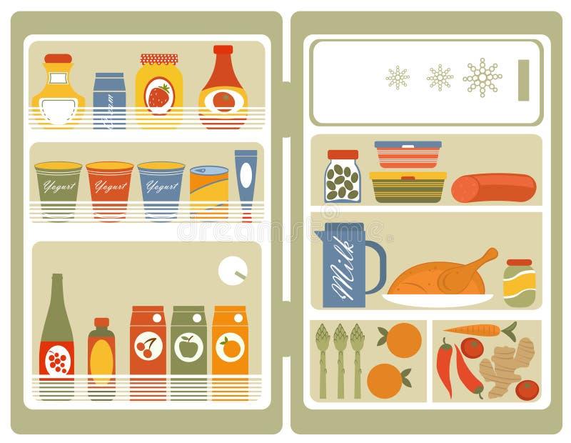 Chłodziarka z jedzeniem i napojami royalty ilustracja