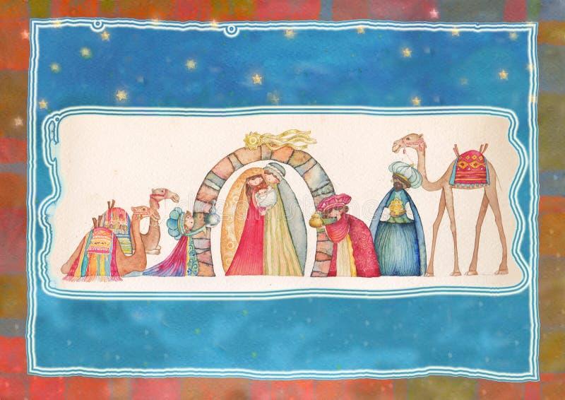 Ilustracja Chrześcijańska Bożenarodzeniowa narodzenie jezusa scena z trzy mędrzec royalty ilustracja