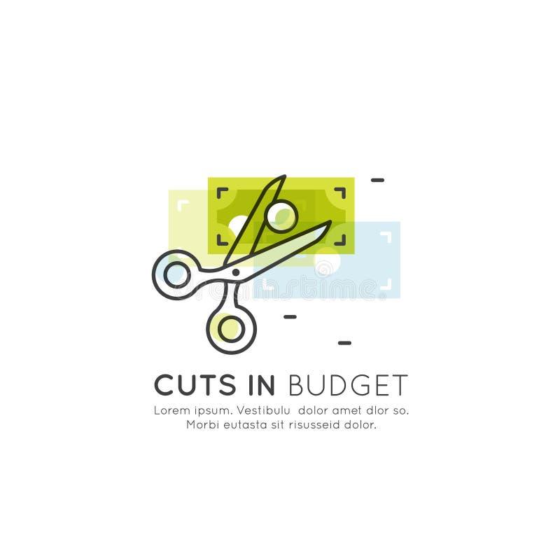 Ilustracja cięcie budżetowe, zmniejsza koszty, pieniądze oszczędzania pojęcie, kredyt, karty debetowej zapłata, gotówka lub monet royalty ilustracja