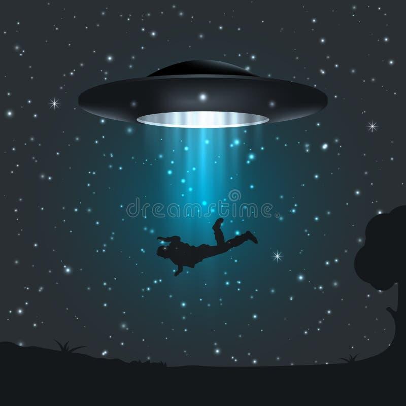 Ilustracja ciemna noc UFO uprowdza istoty ludzkiej royalty ilustracja