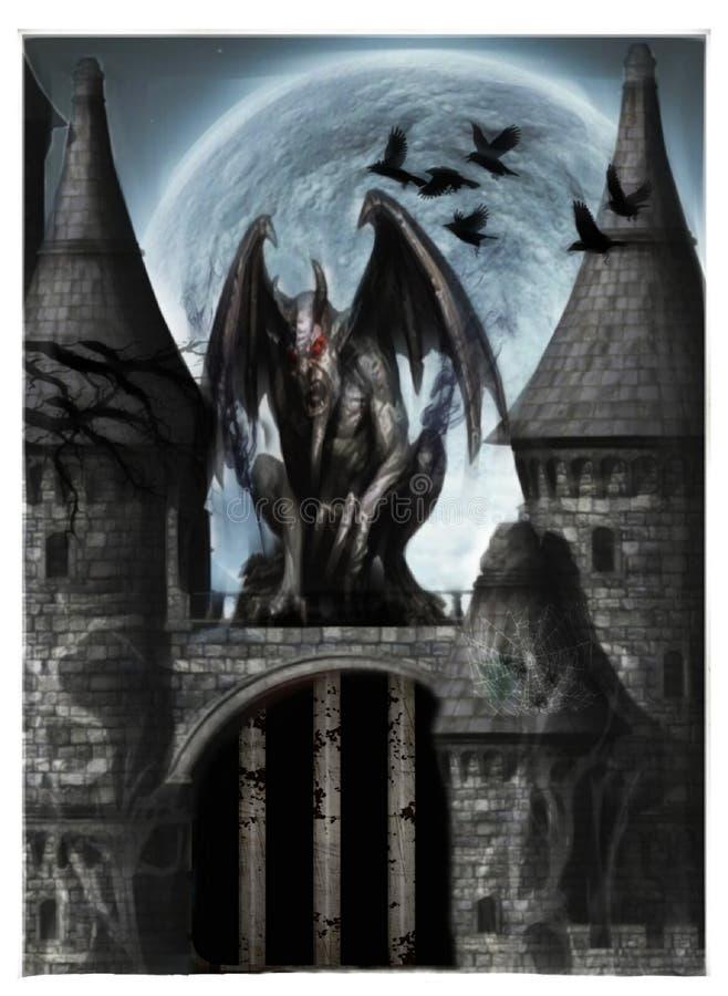 Ilustracja ciemny świat fantazji z kasztelem i gargulecem zdjęcia royalty free