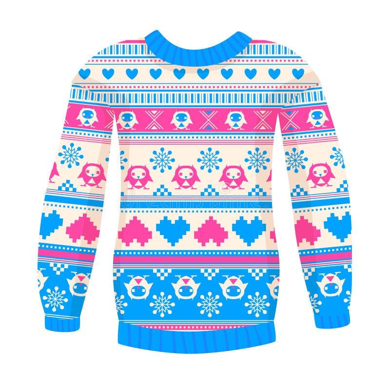 Ilustracja ciepły pulower z sowami i sercami. royalty ilustracja