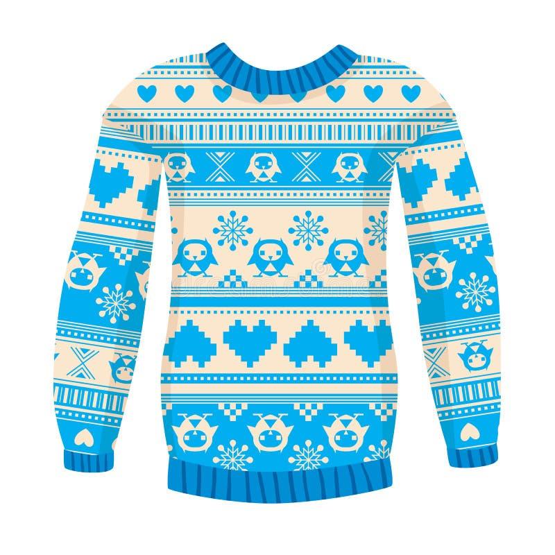Ilustracja ciepły pulower z sowami i sercami. Błękitna wersja. ilustracji