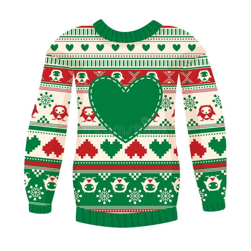 Ilustracja ciepły pulower z sowami i sercami. zieleni ver ilustracji
