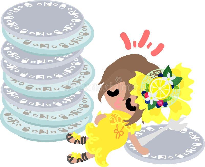 Ilustracja cytryny i dziewczyny ilustracja wektor