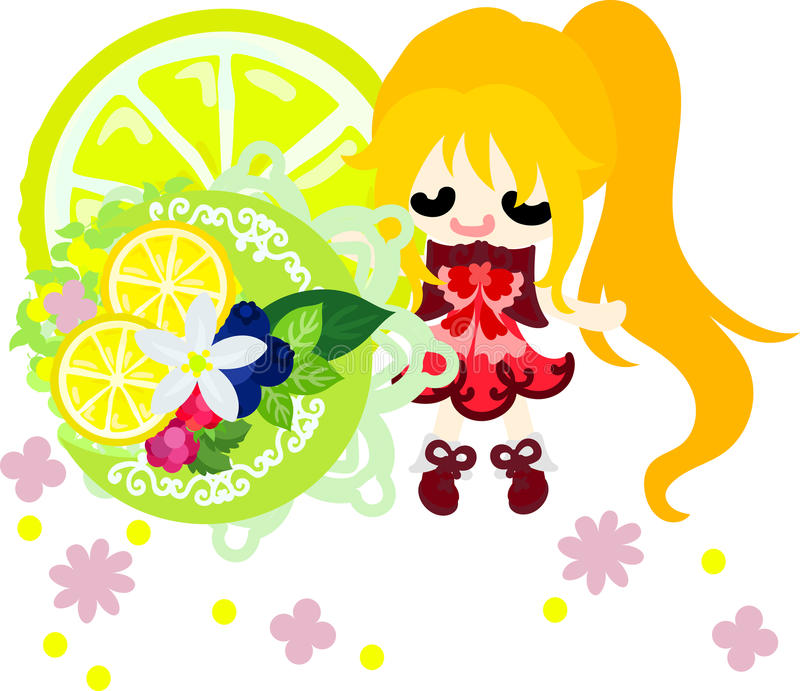Ilustracja cytryny i dziewczyny ilustracji