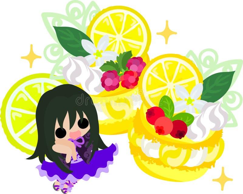 Ilustracja cytryny i dziewczyny royalty ilustracja