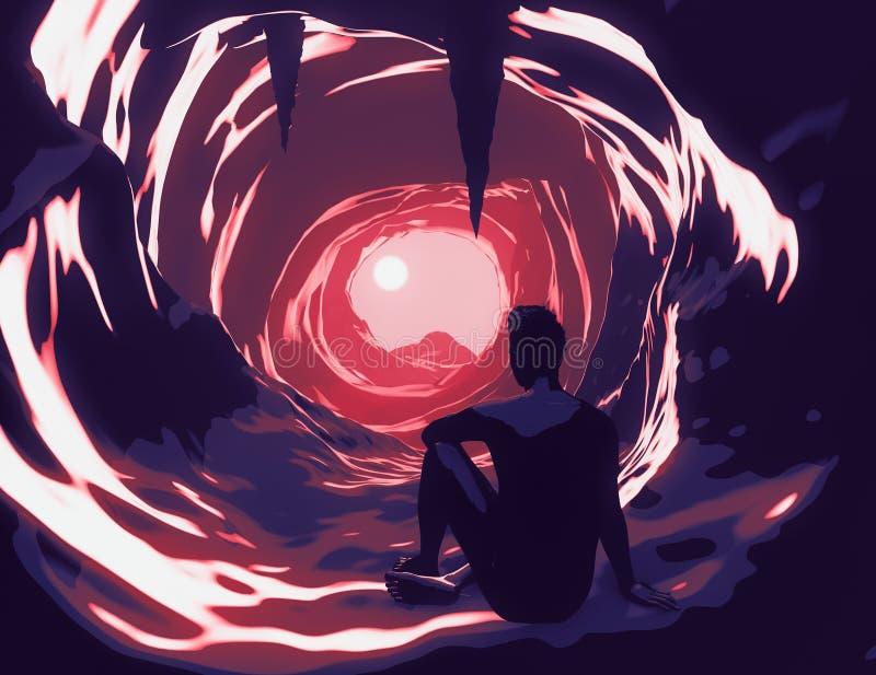 Ilustracja człowieka w jaskini, świadomości i inteligencji emocjonalnej
