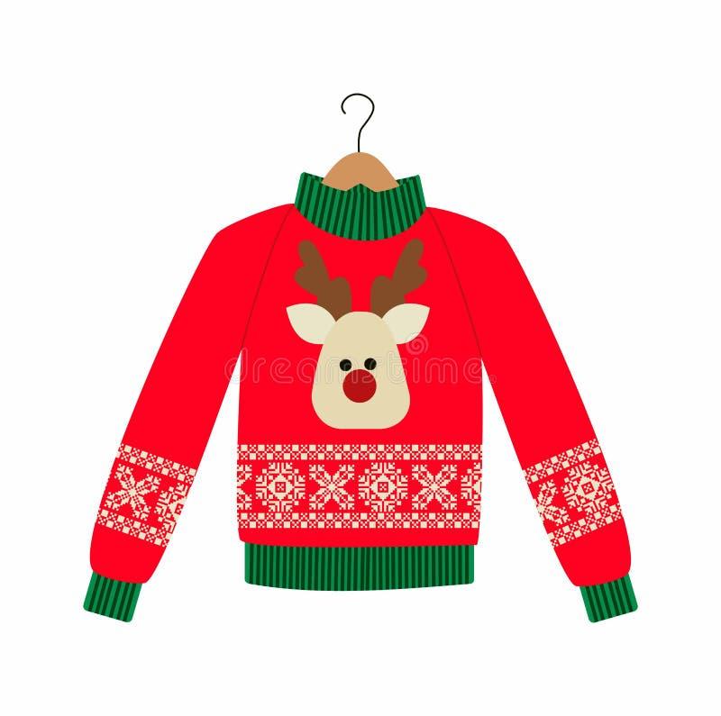 Ilustracja czerwony Bożenarodzeniowy pulower ilustracji