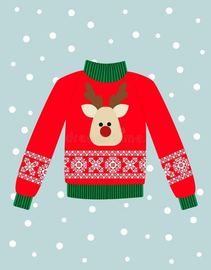 Ilustracja czerwony Bożenarodzeniowy pulower z rogaczem ilustracji