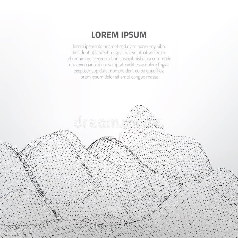 ilustracja 3 d Abstrakta krajobraz na białym tle Cyberprzestrzeni siatka ilustracji