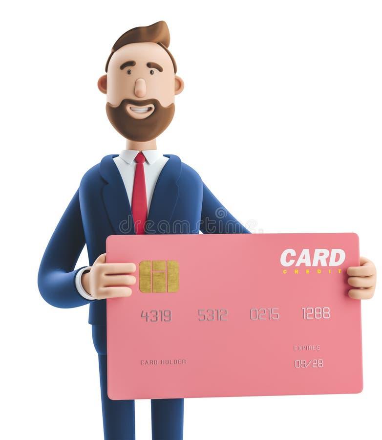 ilustracja 3 d Biznesmen Billy z różową kartą kredytową ilustracja wektor
