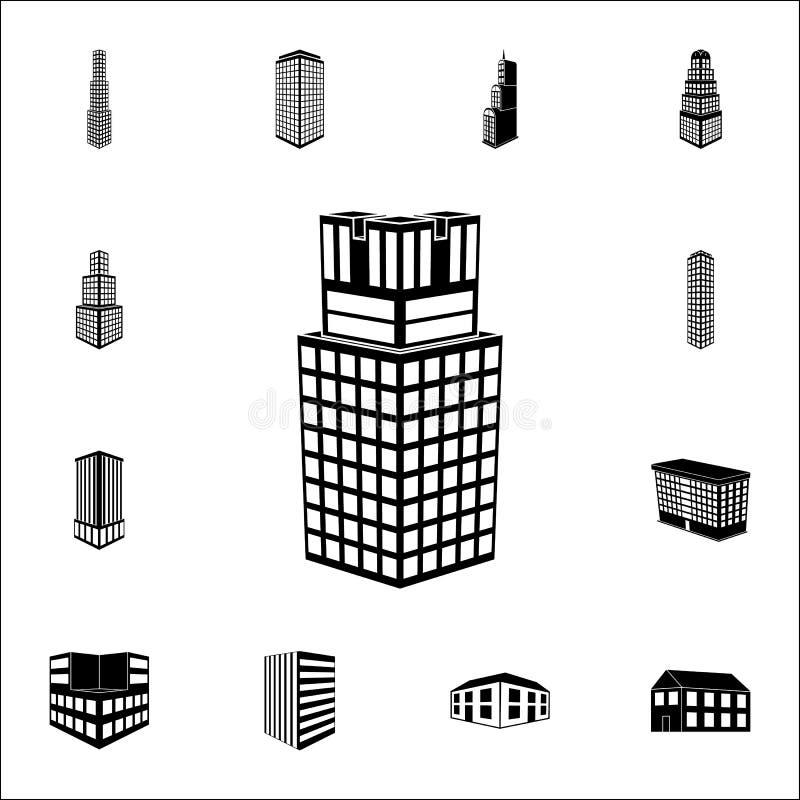 ilustracja 3d budynek uniwersytecka ikona 3d budynku ikon ogólnoludzki ustawiający dla sieci i wiszącej ozdoby royalty ilustracja